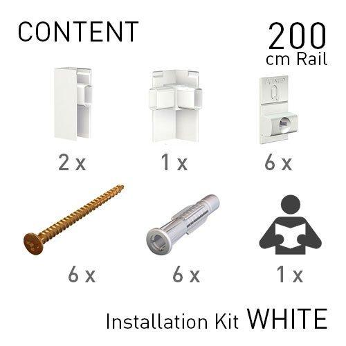 Artiteq Fastener Kit White Click Rail Pro 200cm