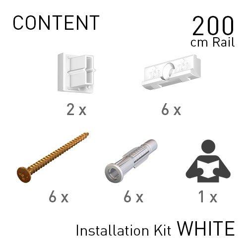 Artiteq Fastener Kit White Contour Rail 200cm