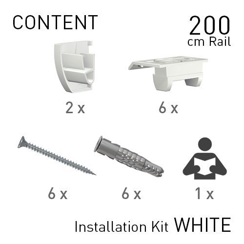Artiteq Up Rail White Primer 200cm installation Kit instruction