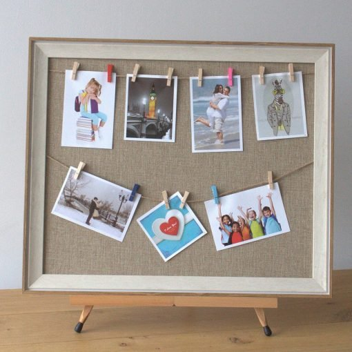 Hand made twine and pegs picture display 50x60cm