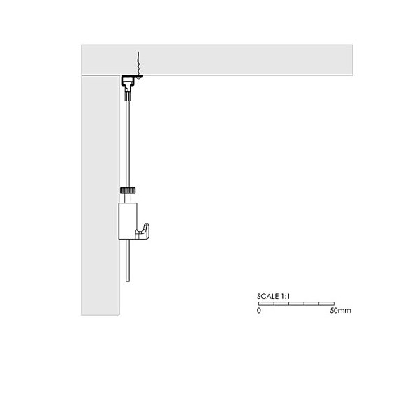 Ceiling mounted Artiteq Top Rail